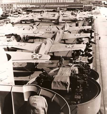 Wildcats are seen lined up aboard the U.S.S. Hornet