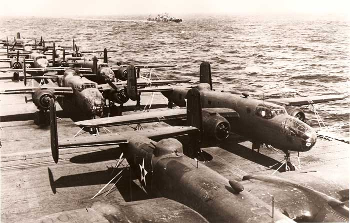 Doolittles B-25's aboard the USS Hornet enroute to Japanese waters in April 1942